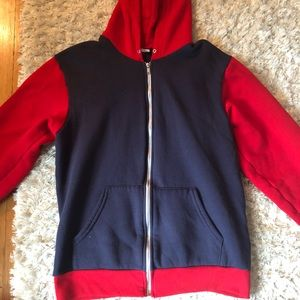 American Apparel Red and Blue Zip up Hoodie